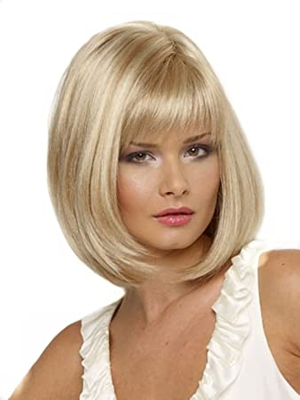 Amazon.com  Kalyss Short Bob Blonde Wig With Hair Bangs for White Women   Beauty ccfc3843774a