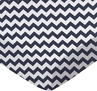 product image for SheetWorld Fitted Sheet (Fits BabyBjorn Travel Crib Light) - Navy Chevron Zigzag - Made In USA