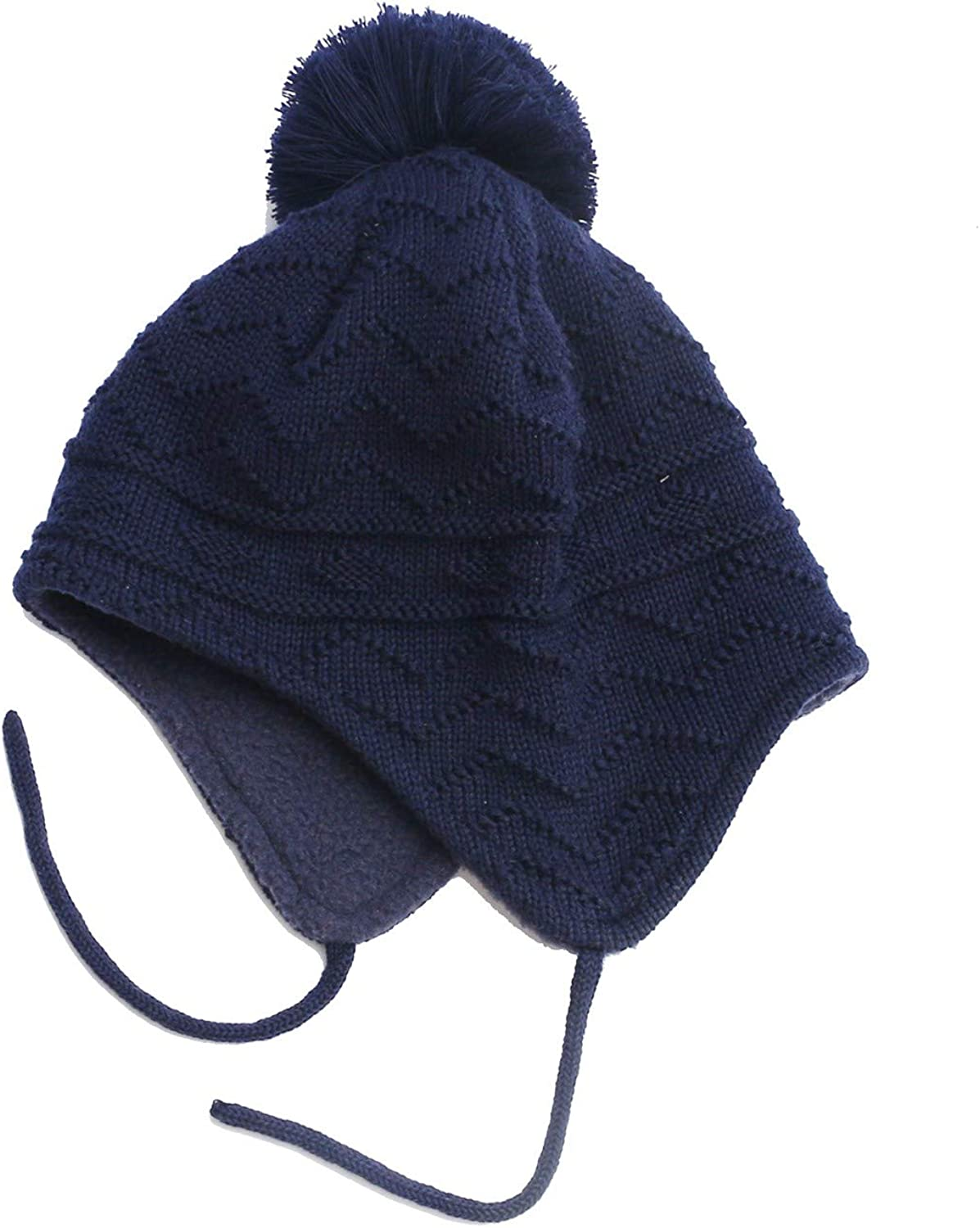 iParaAiluRy Baby Beanie Hat Winter Earflaps Knit Hat with Warm Fleece Boy Girl Pompom Hat