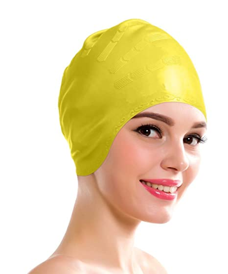 Aurion 2525 Swimming Kit with Ear Protection Cap, Youth (Yellow) Swim Caps at amazon