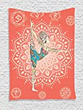 Yoga Tapestry  by Ambesonne, Woman Doing Yoga Dancer Pose on Rocks at Sunset at Beach Asian, Wall Hanging for Bedroom Living Room Dorm, 60 X 80 Inches, Pale Muave Peach