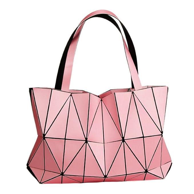 2018 Niñas Moda Fragmento Enrejado Diseño Geométrica Bolsa Cuero De La PU único Carteras Bolsos De Hombro Bolsos Gran Capacidad Varios Colores,Pink-OneSize: ...