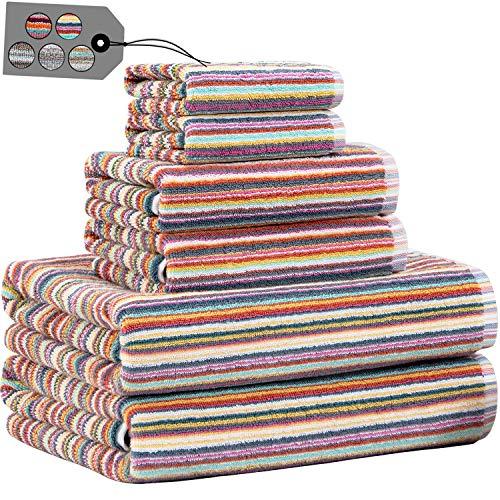 Truly Lou Striped Towel Sets for Bathroom, Decorative Multi Color Stripes, Soft, Absorbent, 100% Cotton Bathroom Towel…