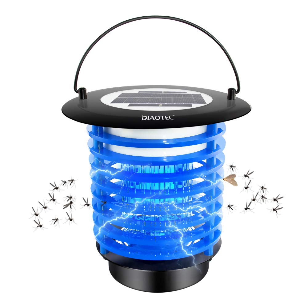 Diaotec Bug Zapper Solar Power Wireless Insect Mosquito Killer Electronic Pest Control Led Lamp for Camping, Hiking and Fishing Night Light by Diaotec