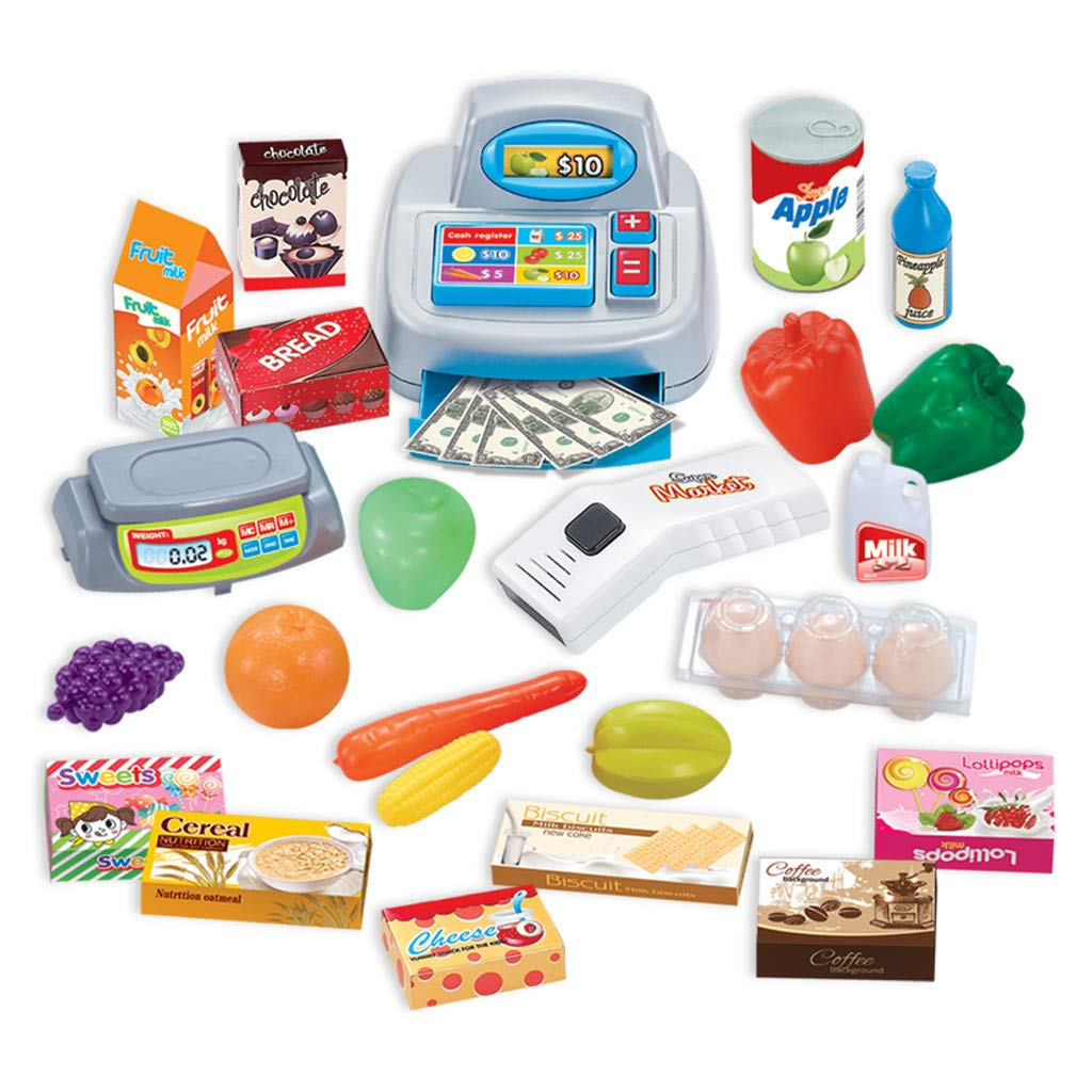 TKI-S 33 Pieces Kids Toy Supermarket Cash Register Shop Trolley Accessories - Shopping cart, Cash Register, Scale,Scanner, 8X Fruits and Vegetables, 4X Drinks, 3X Eggs, 8X Boxed Food, 6X Money by TKI-S (Image #4)