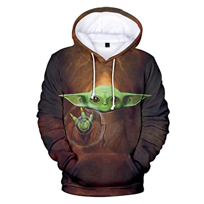 ACheese Mandalorian Baby Yoda 3D Printed Long Sleeve Hoodie Pullover Men and Women Sweatshirt with Pocket at Men's Clothing store