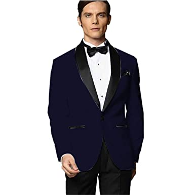 MYS Mens Custom Made Groomsman Tuxedo Blue Suit Black ...