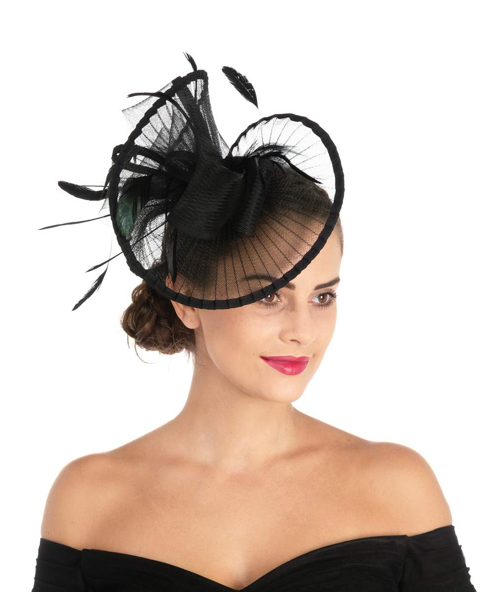 Lucky Leaf Women Girl Fascinators Hair Clip Hairpin Hat Feather Cocktail Wedding Tea Party Hat (2-Black), Medium by Lucky Leaf