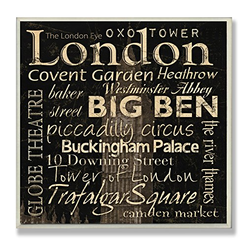 The Stupell Home Decor Collection London Landmarks Square Wall Plaque