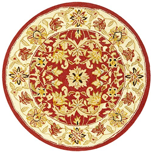 - Safavieh Chelsea Collection HK157A Hand-Hooked Red and Ivory Premium Wool Round Area Rug (3' Diameter)