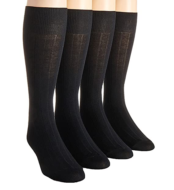 320c11ce3d31 Calvin Klein Men's 4-pack Solid Ribbed Dress Socks, One Size (Black) at  Amazon Men's Clothing store: Casual Socks