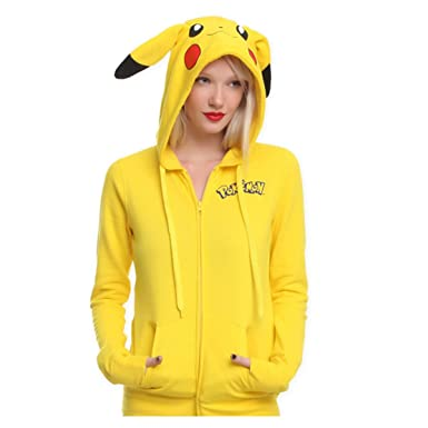 Pokemon Anime Jacket Cosplay Ears Face Tail Zip Hoody Sweatshirt Pikachu Hoodies