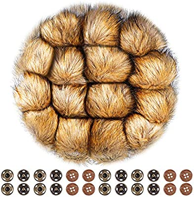 313165059ce Anezus 15 Pieces Faux Fur Pom Poms for Hats with Press Button and Sewing  Buttons Knitting Accessories for Crocheted Hats Bag Charm Christmas  Decoration