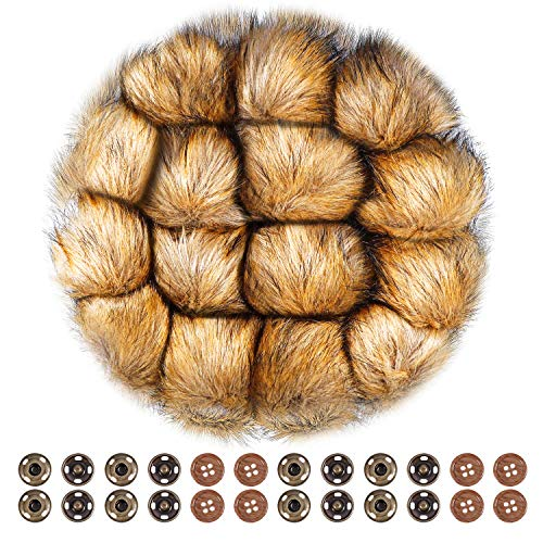 Faux Handmade Fur (Anezus 15 Pieces Faux Fur Pom Poms for Hats with Press Button and Sewing Buttons Knitting Accessories for Crocheted Hats Bag Charm Christmas Decoration)