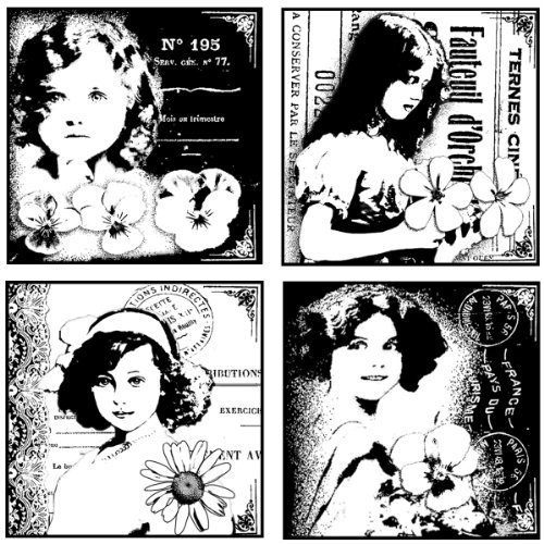 Crafty Individuals CI-131 Unmounted Rubber Stamp, 4 Pretty Young Girls