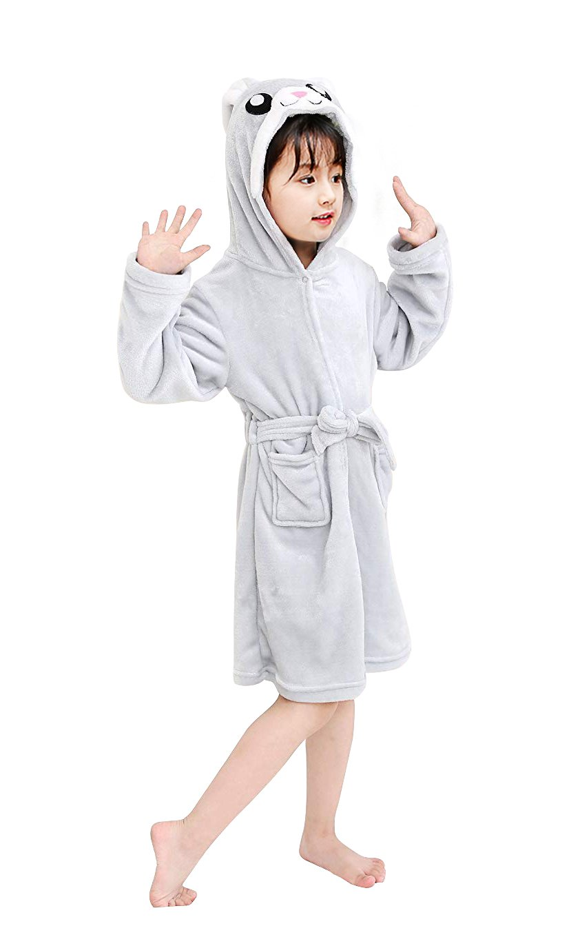 dressfan Toddlers/Kids Animal Cartoon Robes Flannel Warm Hooded Bathrobe