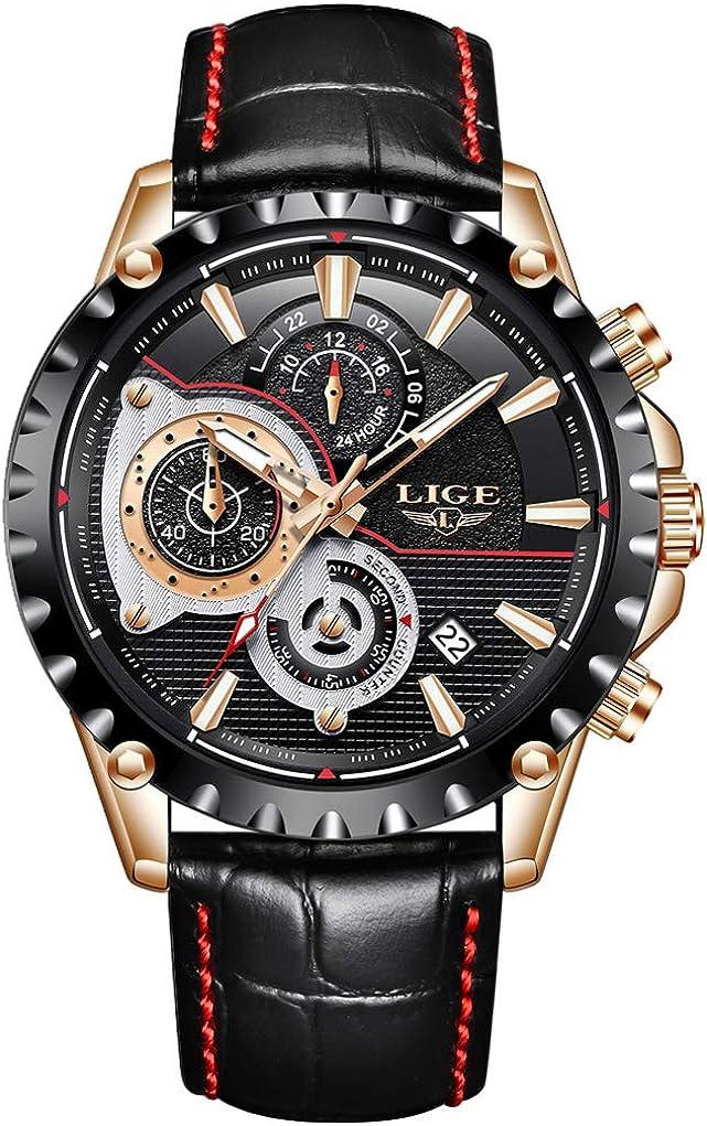 LIGE Relojes Hombre Impermeable Deporte Cronógrafo Militar Cuarzo Reloj Calendario Correa Cuero Relojes de Pulsera