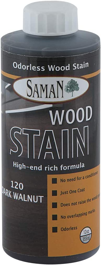 SamaN TEW-120-12, Dark Walnut, Interior Water Based Stain for Fine Wood, 12 oz, 12-Ounce