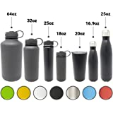Double Wall 18/8 Pro-Grade Stainless Steel Water Bottle with Leak-Proof Stainless Cap  Great Alkaline Water Bottle - 7 Colors and 7 Different Sizes to Choose