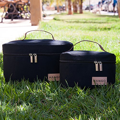 Hango Adult Lunch Box Insulated Lunch Bag Large Cooler Tote Bag (Set of 2 Sizes) For Men and Women, Black by Attican (Image #8)