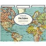 Cavallini Papers & Co World Map 2 Heavyweight File Folders (Set of 12)