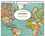 Cavallini Papers & Co. World Map 2 Heavyweight File Folders (Set of 12)
