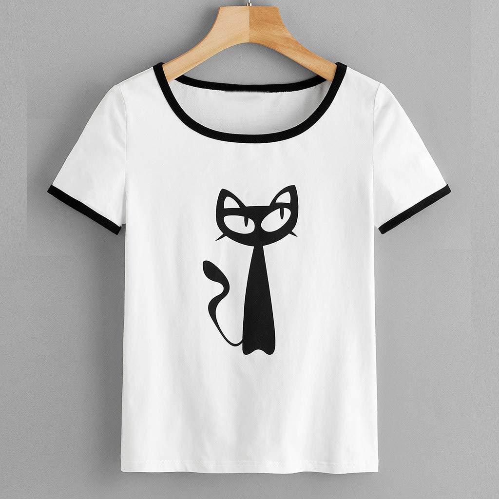 TWIFER Damen Katze Gedruckt Tops O Ausschnitt Animal Print Kurzarm Shirt Pullover Tops