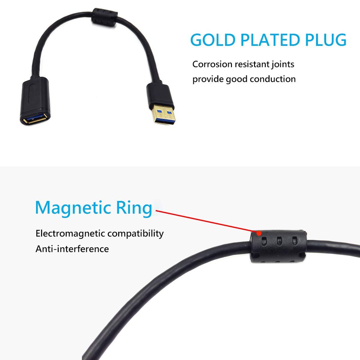 USB AM//BM Xerox Poyiccot Magnetic USB Type B Cable 30cm Dell Epson Lexmark Samsung USB Printer Cable USB 3.0 Type A Male to B Male with Magnetic Ring Scanner Cord for HP Canon