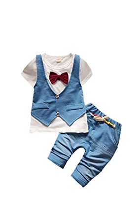 84244f1703f06 AP Boutique Baby Boy Waistcoat Tshirt Pant Set Birthday Party Wear Clothes  Short Sleeves Shirt