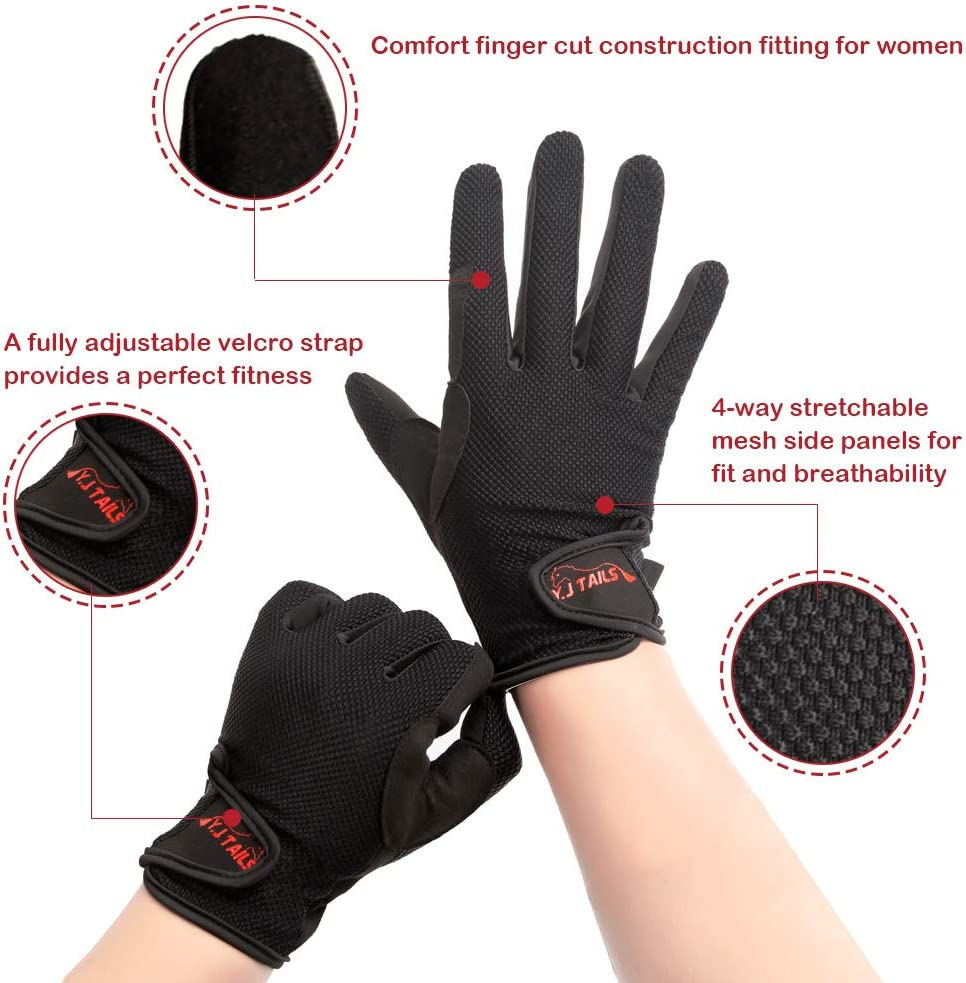 Y.J TAILS Womens Horse Riding Gloves Equestrian Women Ladies Girls