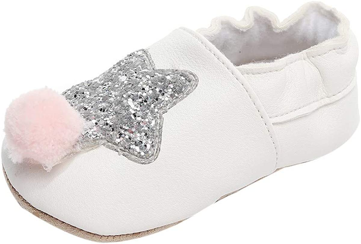 XUANOU Baby Tassel Bowknot Bling Star Sequins Hairball Walkers Soft Sole Shoes
