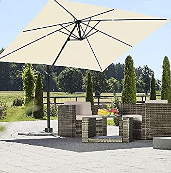 Heredeco patio 10 by 10-feet Square offset cantilever ombrellone da ...