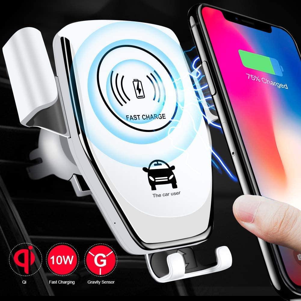 QSACE for 10W Fast Wireless Charger Car Mount Easy One Touch Charge Car Mount Kit Adjustable Gravity Air Vent Phone Holder Compatible for iPhone Samsung OnePlus Sony and Android Smartphones White