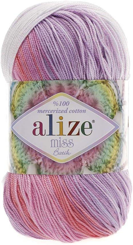 100% algodón mercerizado hilo Alize Miss Batik CROCHET de hilo ...