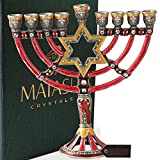 Hand Painted Enamel Menorah Candelabra Embellished with Gold Accents and Crystals by Matashi (Red Star of David)