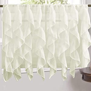 Sweet Home Collection Veritcal Kitchen Curtain Sheer Cascading Ruffle Waterfall Window Treatment - Choice of Valance, 24
