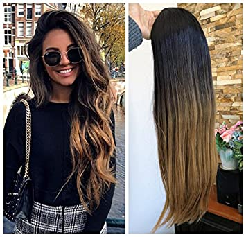 Amazoncom 24 Inches No Front Parting Half Head Wig Long Ombre 34