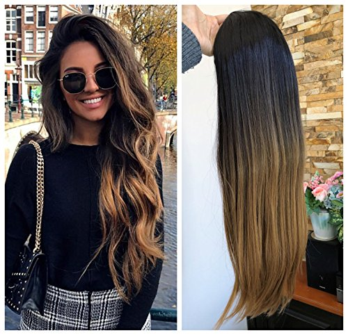 24 Inches No Front Parting Half Head Wig Long OMBRE 3/4 Weave Brown Blonde (Straight-Natural black to dark blonde)]()