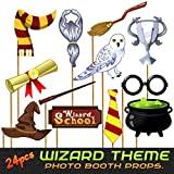 24pc Magical Wizard School Photo Booth Props for Children Birthday Party, Dress Up Novelty Decorations