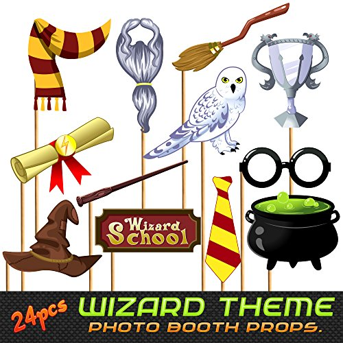 24pc Magical Wizard School Photo Booth Props for Children Birthday Party, Dress Up Novelty Decorations -
