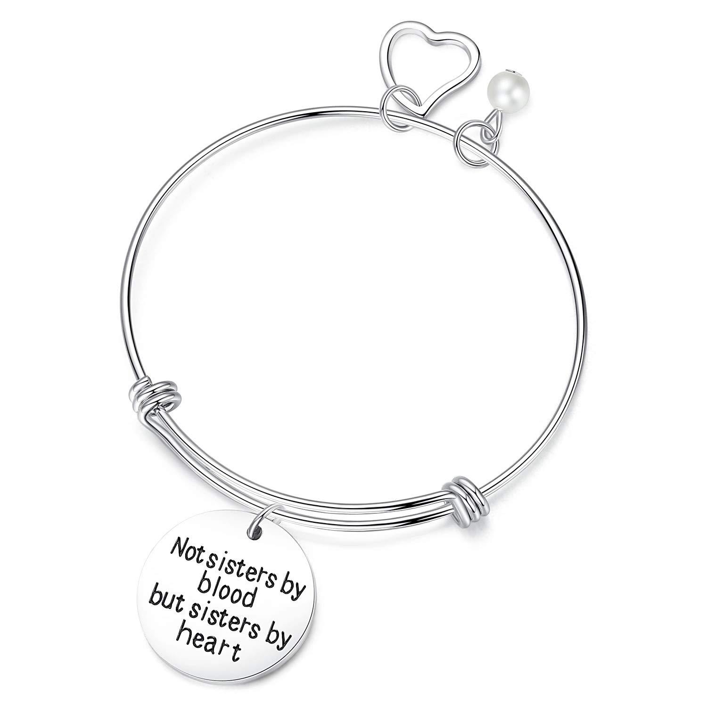 JSstudio Friendship Bangle Bracelets, Not Sisters Blood But Sisters Heart, Best Friend Stainless Steel Charm Ajustable Bangle Bracelet, Gifts Teen Girls Women, Long Distance Friendship Gift