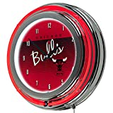 NBA Chicago Bulls Chrome Neon Clock, One Size, Chrome