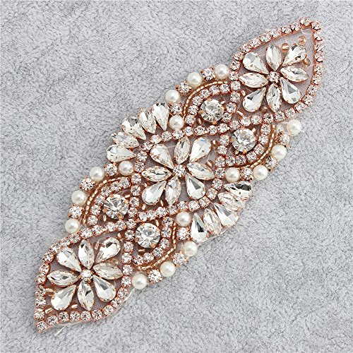 [Wedding Applique with Rhinestones and Pearls for Bridal Belts and Sashes Headbands Hats Bags(Rose] (Easy Diy Plus Size Halloween Costumes)