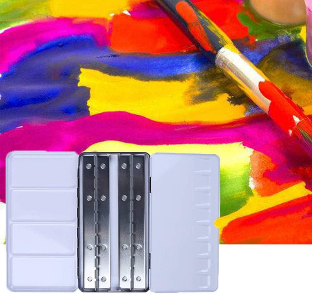 Caja de pintura de acuarela vacía con 48 compartimentos, caja de pintura sólida pequeña, media bandeja 21.3 * 10.8 * 2 cm blanco: Amazon.es: Hogar