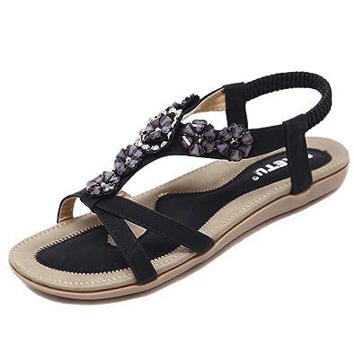 DADAWEN Damen Böhmische Sandalen Frauen T-Strap Sommer Schuhe Flache Outdoorsandalen mit Weiße Perlen 35X12SQ