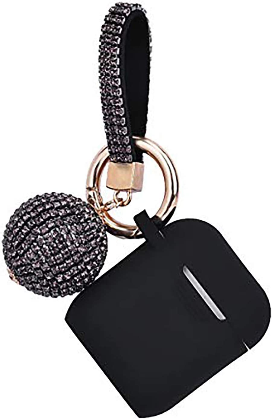 Case for Airpods, Filoto Bling Airpod Silicone Case Cover Skin, Air Pods Protective Glitter Case with Shiny Disco Ball Keychain, Scratch Proof and Drop Proof for Apple Airpods 2&1 (Black)