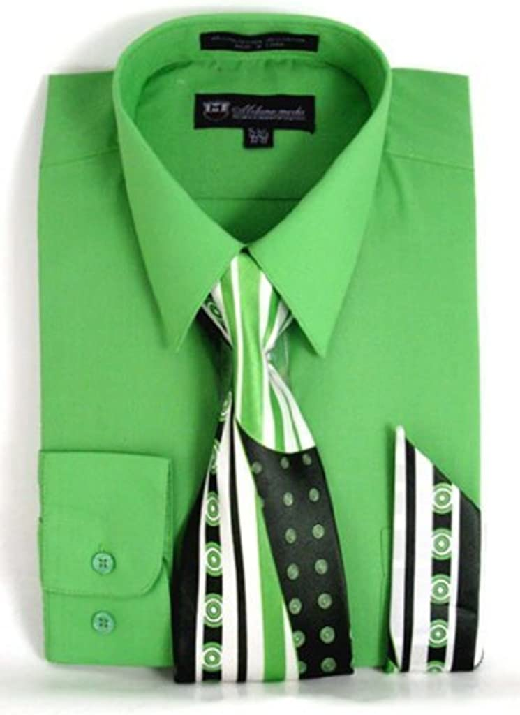 Milano Moda Men's Long Sleeve Dress Shirt With Matching Tie And Handkie SG21A-Apple-17-17 1/2-34-35