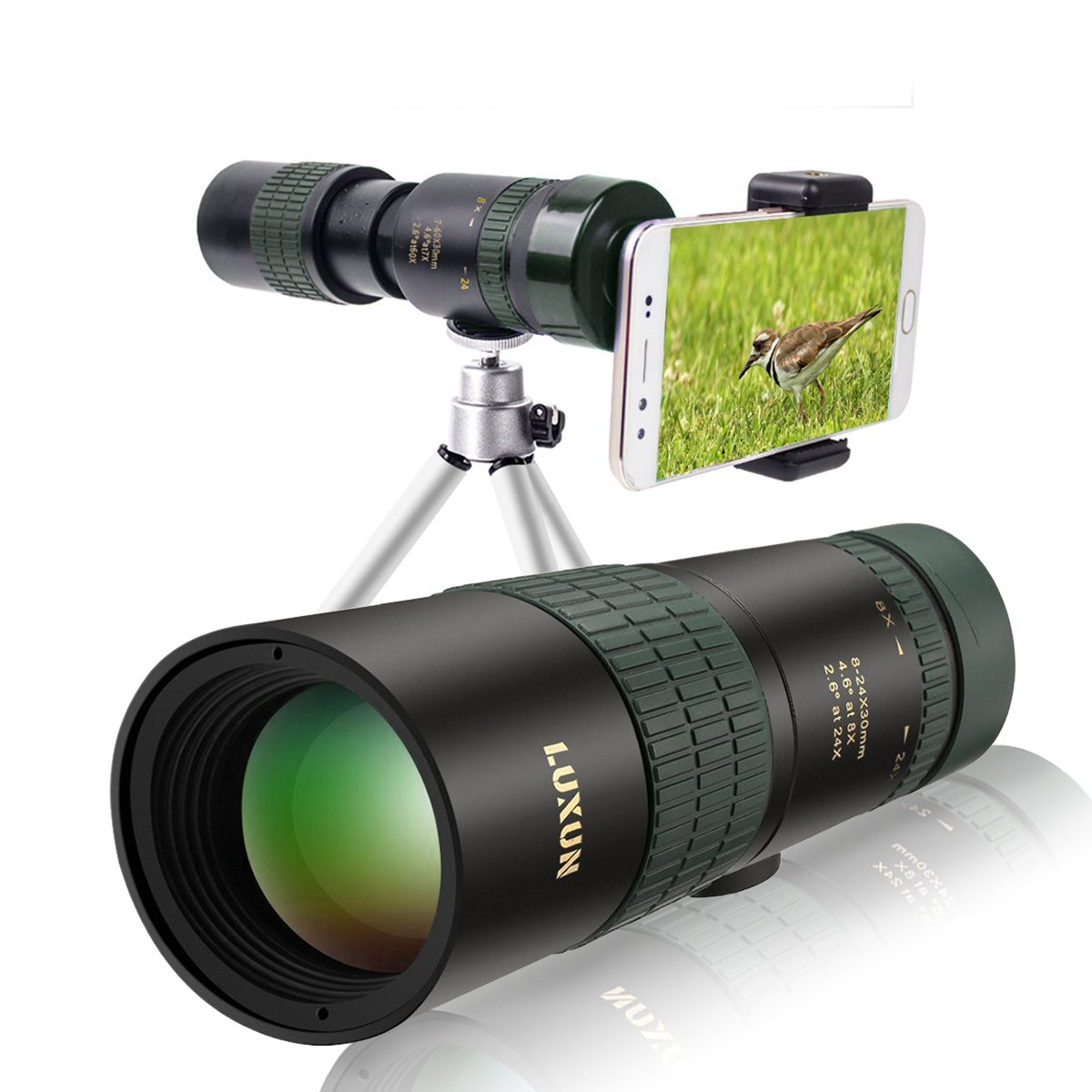 Yelomin Zoom Monoculars Telescope,24X30 Dual Focus optics Multi-coated Lens BAK4 Prism Spotting Scope with Tripod and Cellphone Adapter Suitable for Bird Watching,Sport Games and Concerts (8X) by Yelomin