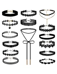 Aroncent 15 Pieces Choker Necklace Stretch Velvet Lace Tattoo for Womens Girls Black