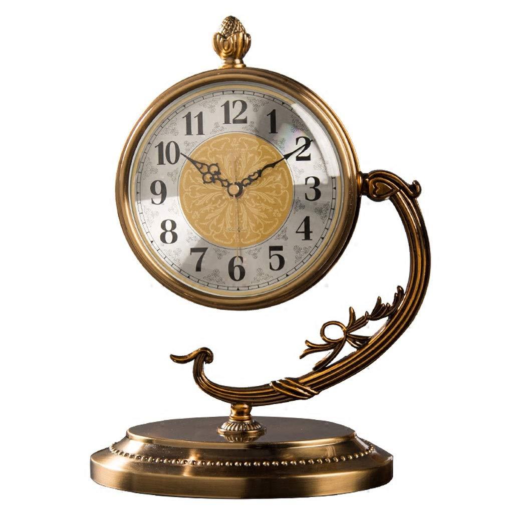 超人気の RMXMY レトロな時計と創造的な時計のリビングルームのテーブルクロックヨーロッパの装飾的なデスクトップの寝室の時計金属時計 RMXMY B07NPMYNJY, 度会町:09b05ed5 --- a0267596.xsph.ru